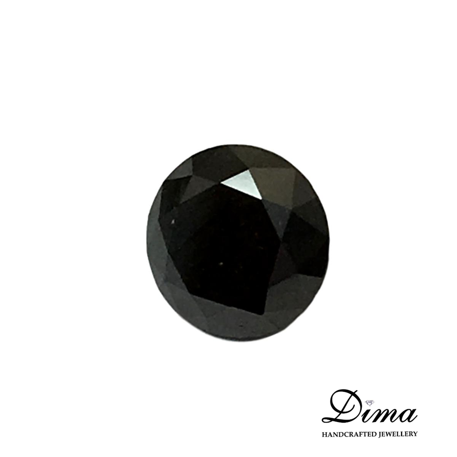 One Stone Black Diamond Round 0.90ct in Total