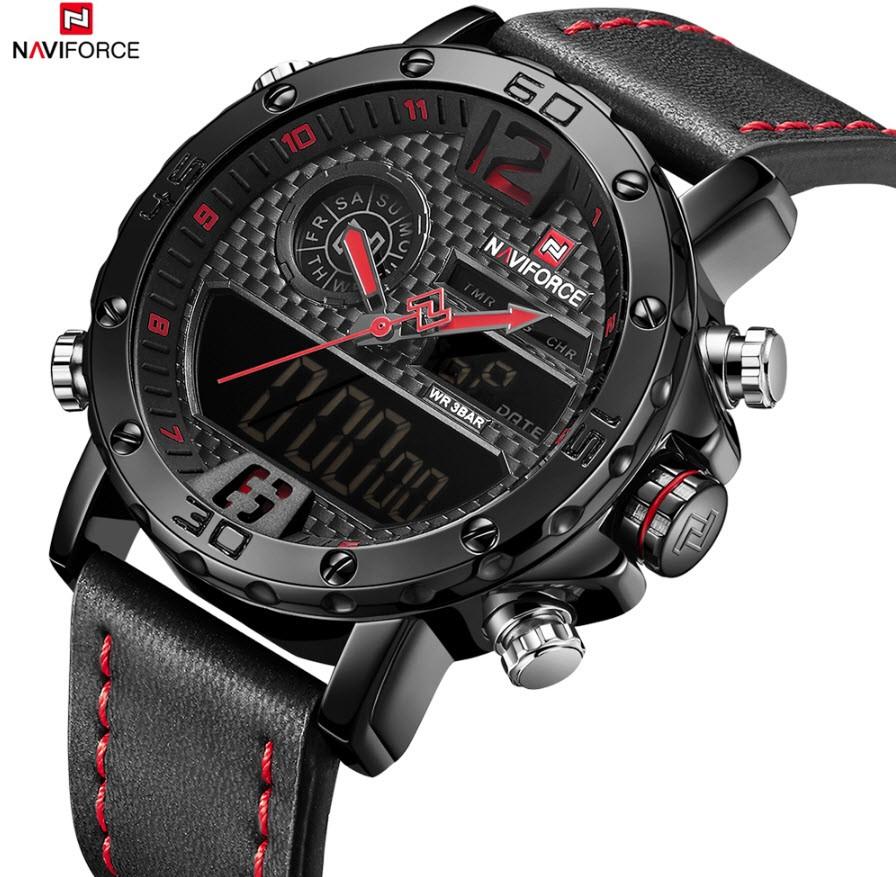 NAVIFORCE Men Sport & Elegant, Analog & Digital Water-Resistant Wristwatch