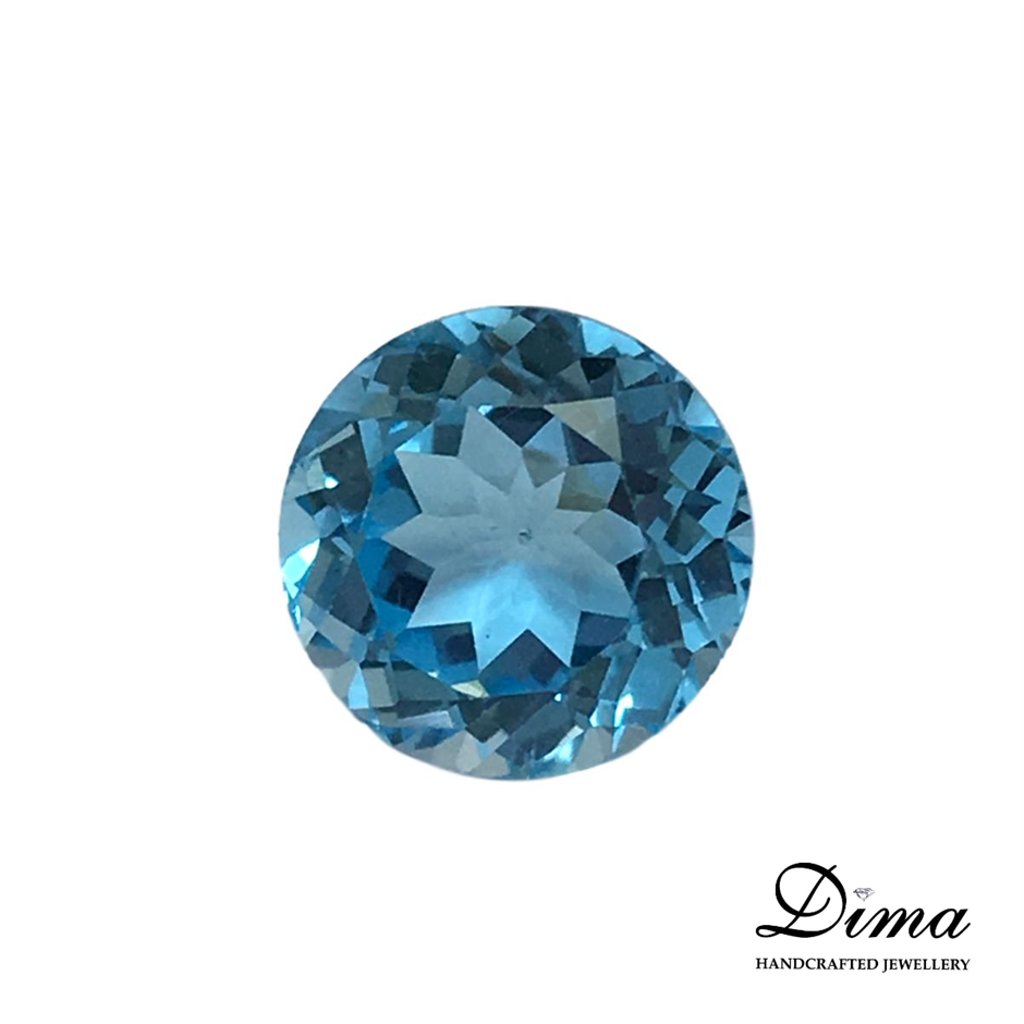 One Stone Blue Topaz Round 8.96ct in Total