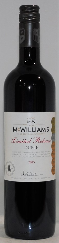 McWilliams `Limited Release` Durif 2015 (12 x 750mL) SEA.