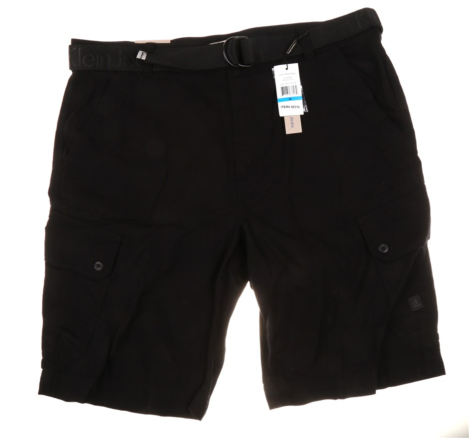 CALVIN KLEIN Men`s Cargo Shorts with Belt, Size 32, 100% Polyester, Black.