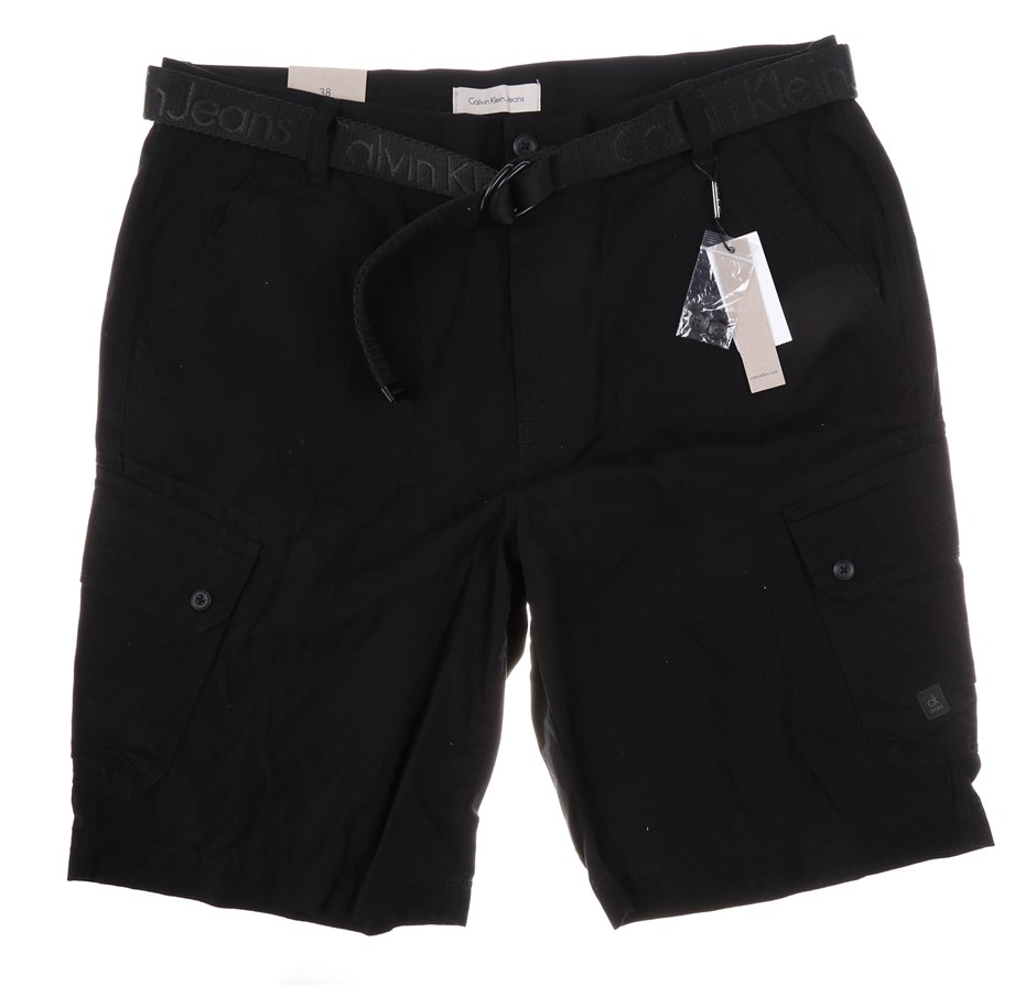 CALVIN KLEIN Men`s Cargo Shorts with Belt, Size 34W, 100% Polyester, Black.