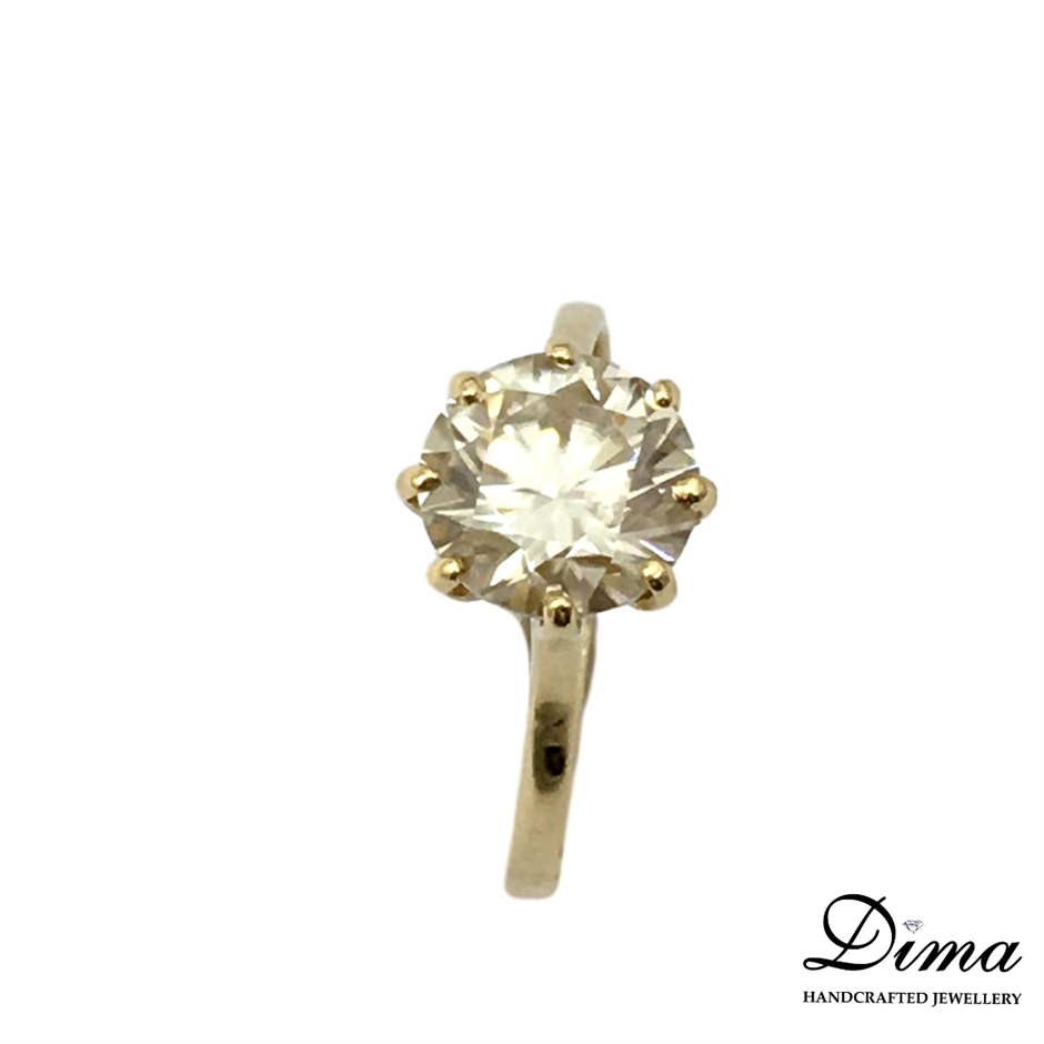 18ct Yellow Gold, 1.91ct Moissanite Ring