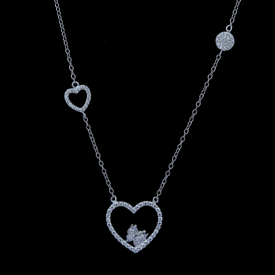 Genuine Sterling Silver Heart / Butterfly Chain Necklace 50 cm