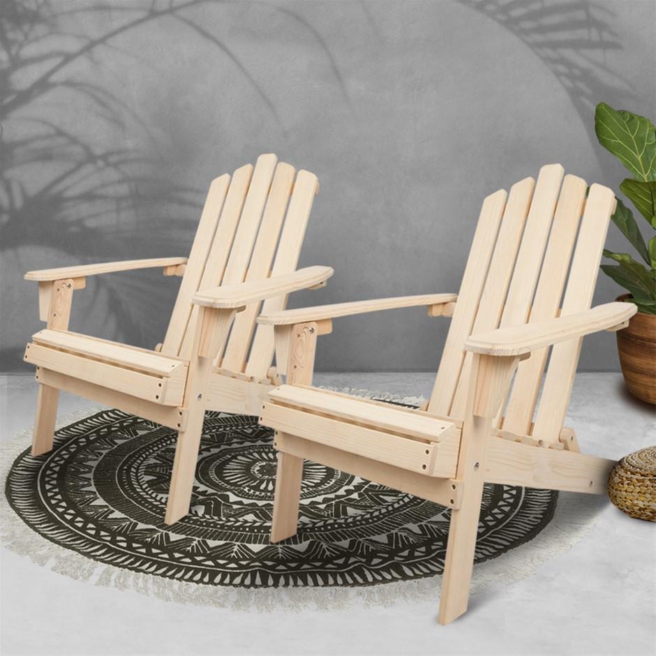 Gardeon Patio Chairs Wooden Adirondack Garden Lounge Recliner 2PC Beige