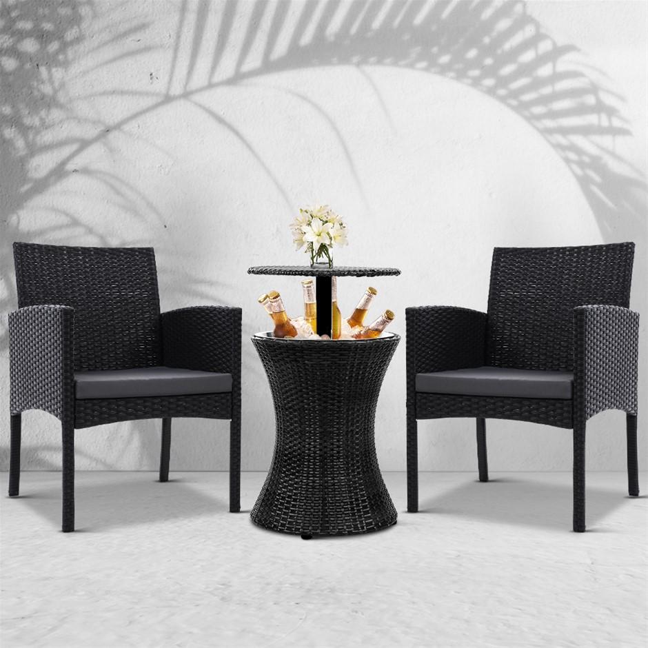 Gardeon Wicker Chairs Bar Table Cooler Ice Bistro Set Bucket Patio Coffee