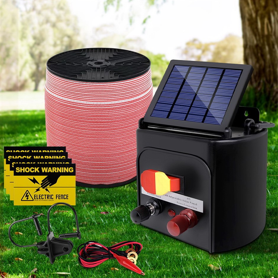 Giantz 3KM Solar Electric Fence Energiser + Electrical Fencing Wire Tape
