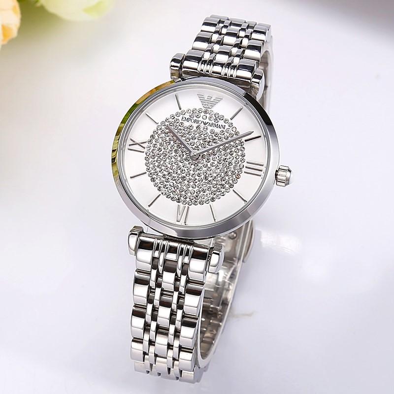 Gorgeous New Armani White Crystal Dial Ladies Watch