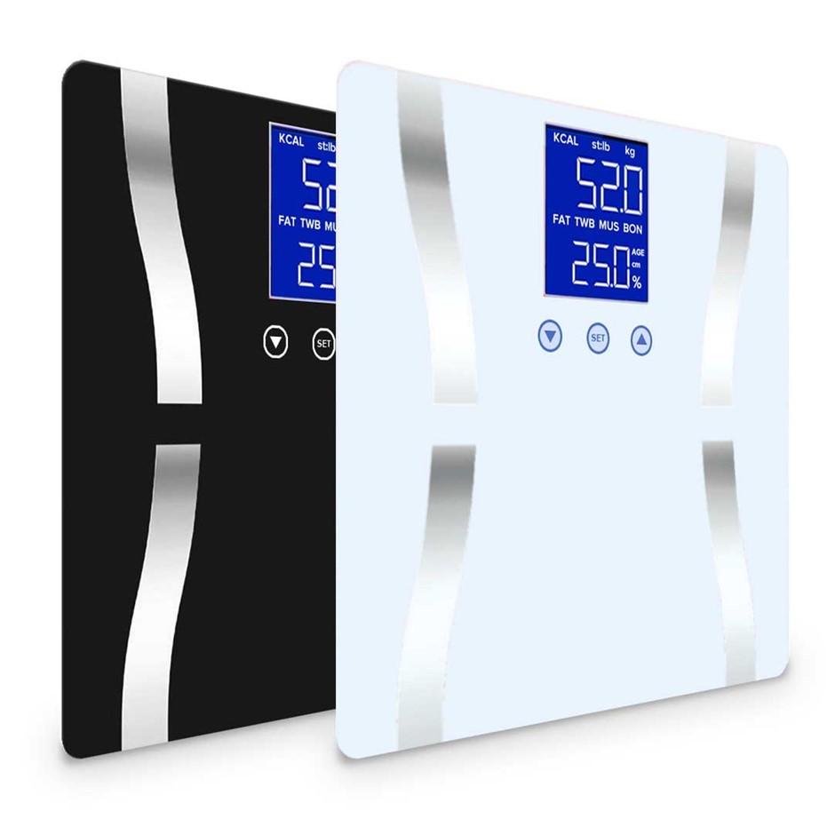 SOGA 2 x Digital Body FatBathroomWeight Gym Glass Water LCD Black/White