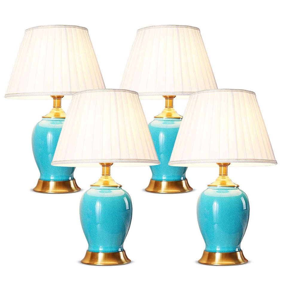 SOGA 4X Ceramic Oval Table Lamp with Gold Metal Base Desk Lamp Blue