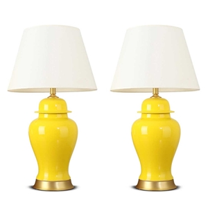 SOGA 2x Oval Ceramic Table Lamp with Gol
