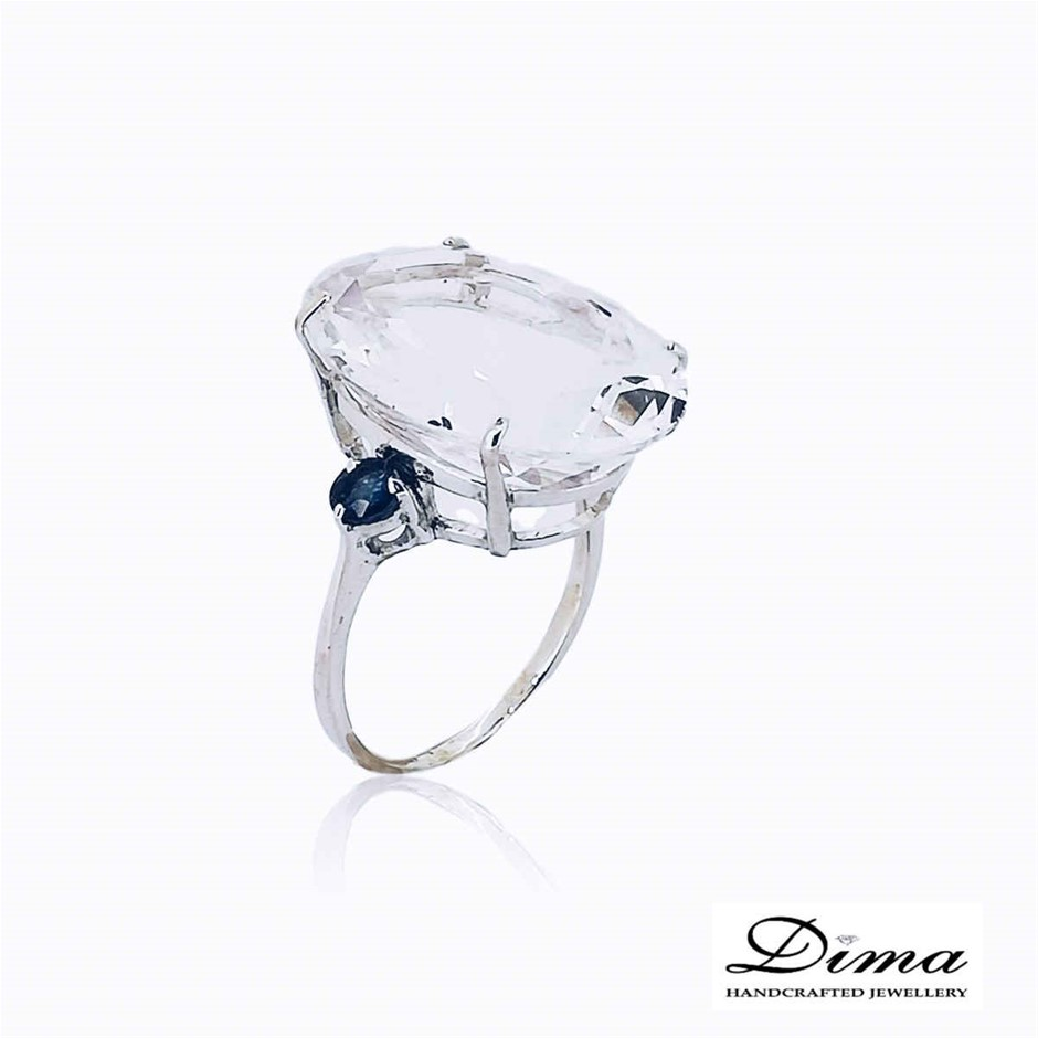 18ct White Gold, 20.62ct White Topaz and Blue Sapphire Ring