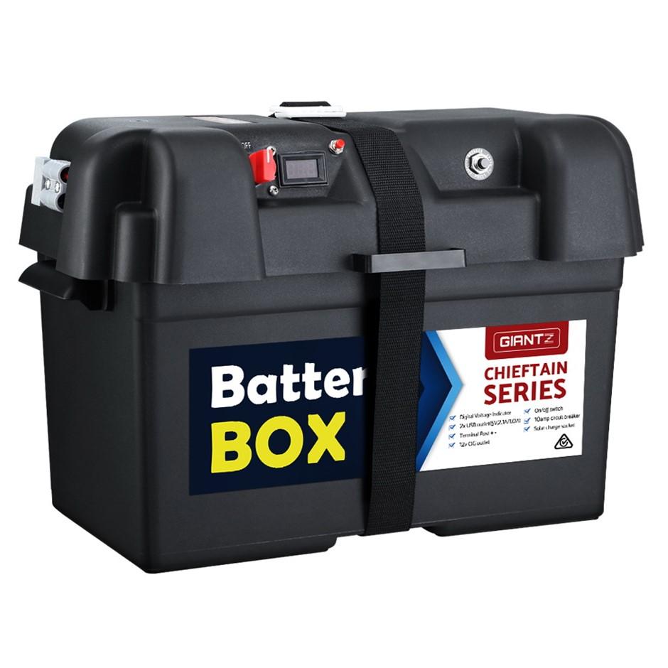 GIANTZ Battery Box 12V Camping Portable Deep Cycle AGM UniversalUSB Cig