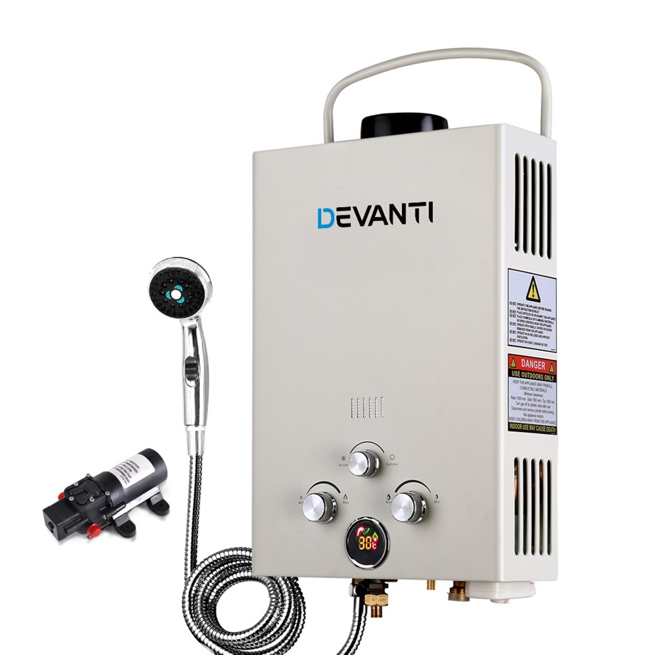Devanti Outdoor Gas Hot Water Heater Portable Shower LPG Caravan Pump