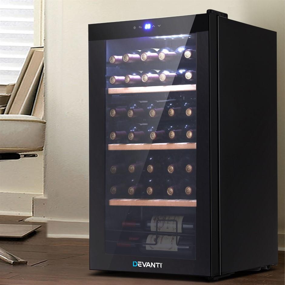 Devanti 34 Bottles Wine Cooler Compressor Chiller Beverage Fridge