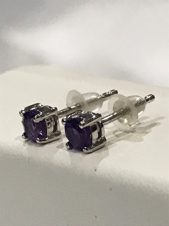 Magnificent Amethyst & 18K White Gold Vermeil Earrings