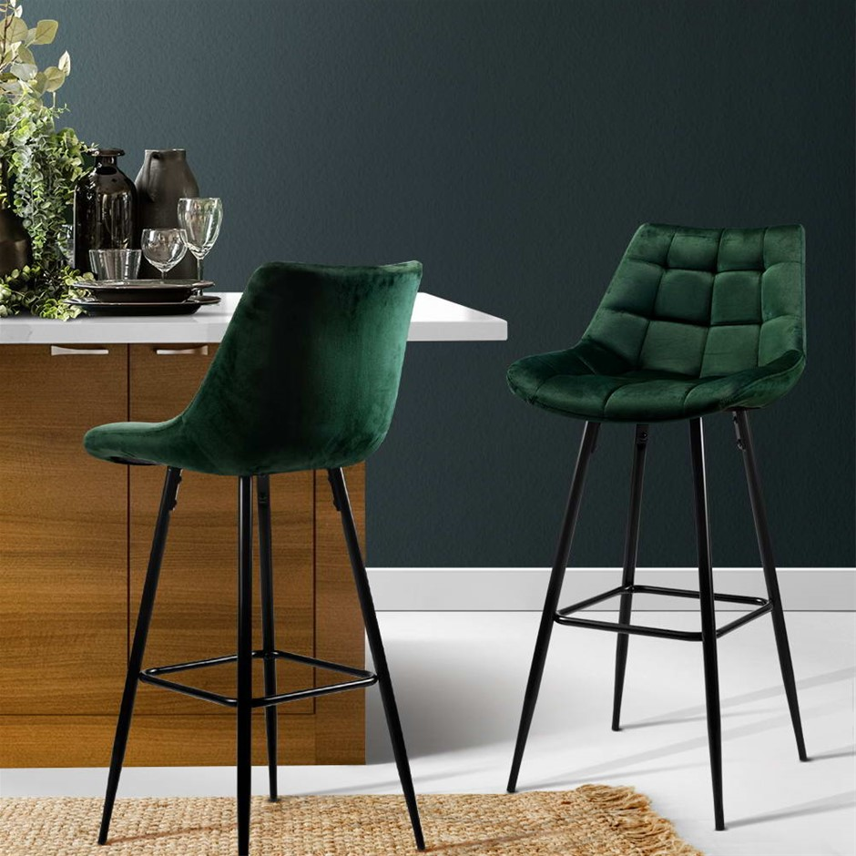 Artiss Kitchen Bar Stools Velvet Counter Chairs Metal Barstools Green