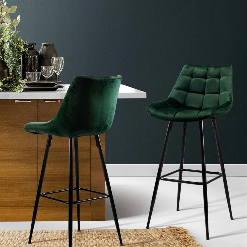 Artiss Kitchen Bar Stools Velvet Counter Chairs Metal Barstools Green