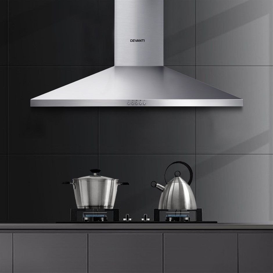 Devanti Range Hood 90cm 900mm Kitchen Canopy Rangehood Wall Mount
