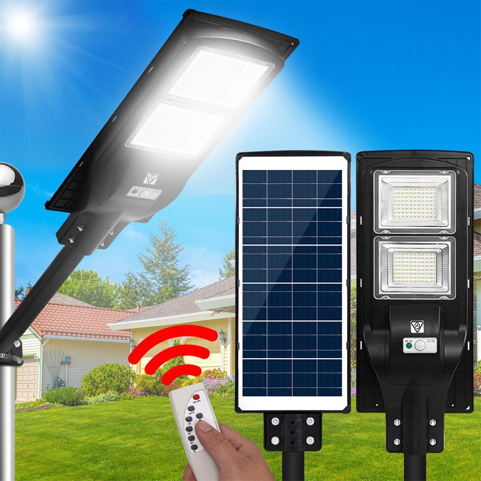 LED Solar Street Flood Light Motion Sensor Remote 120W