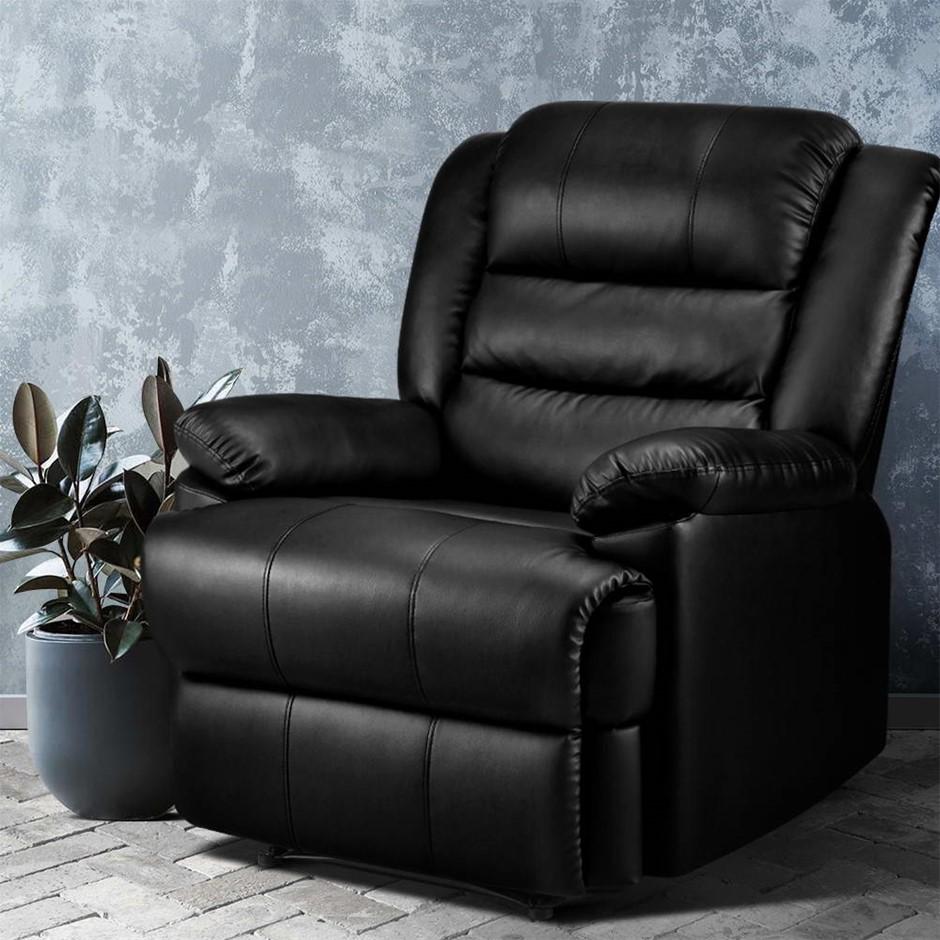 Artiss Recliner Chair Armchair Luxury Single Lounge Sofa Leather Black