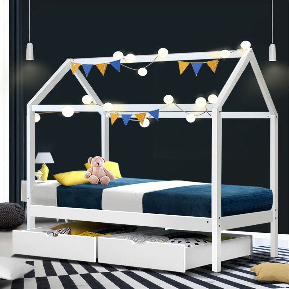 Artiss Wooden Bed Frame Single Size Mattress Base Pine Timber White BALI