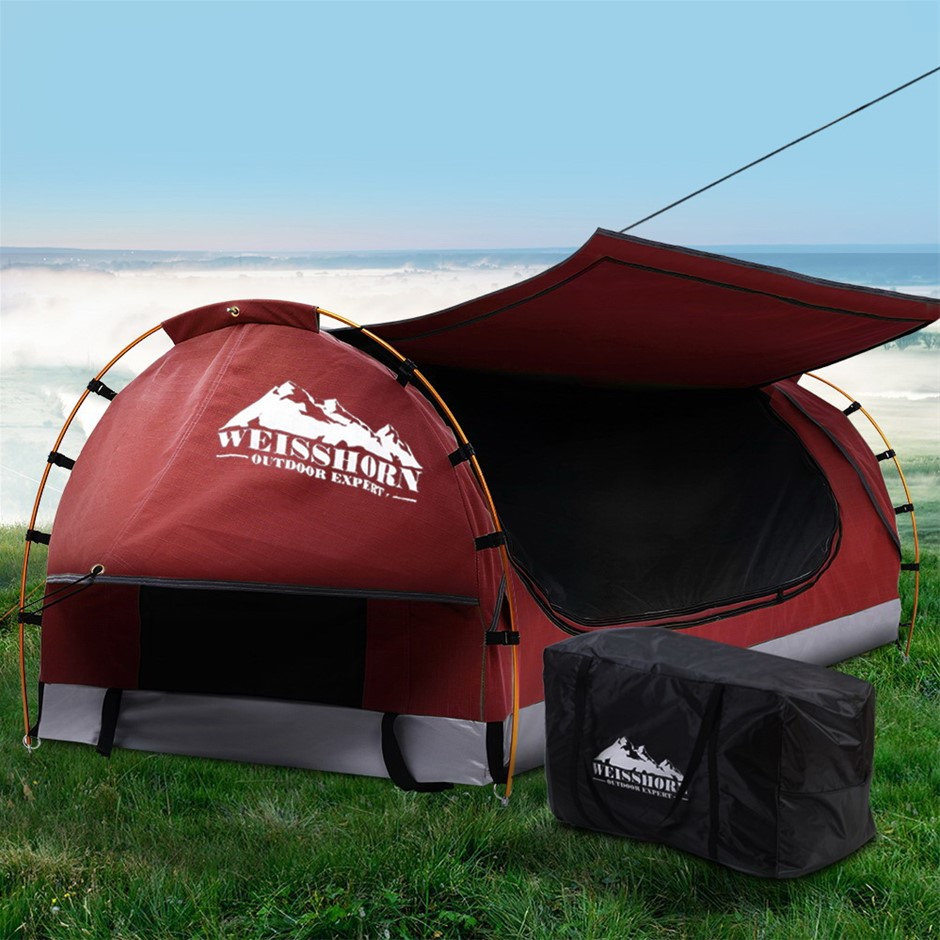 Weisshorn Swag King Single Camping Swags Canvas Dome Tent Red w/ Mattress