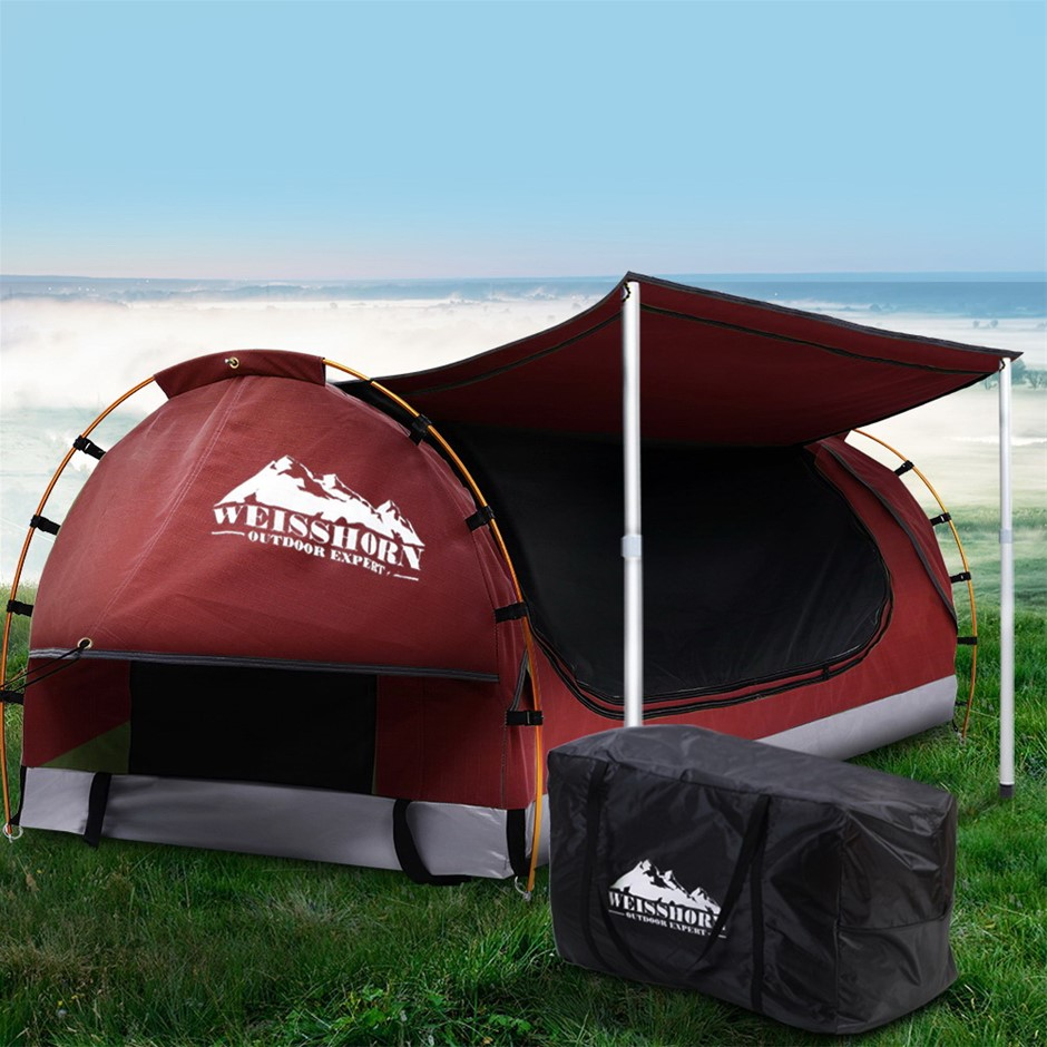 Weisshorn Double Swag Camping Swags Canvas Dome Tent Red w/ Mattress