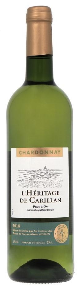 IGP Pays D'Oc Chardonnay Blanc Heritage De carillan 2018 (6 x 750mL) France