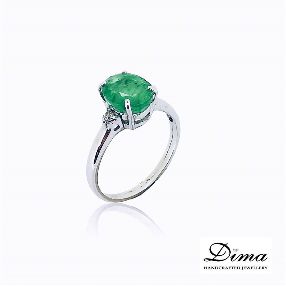 18ct White Gold, 2.22ct Emerald and Diamond Ring