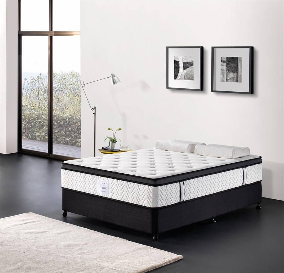 Breeze Double Mattress Bed Memory Foam Euro Top Pocket Spring 32cm 5 Zone