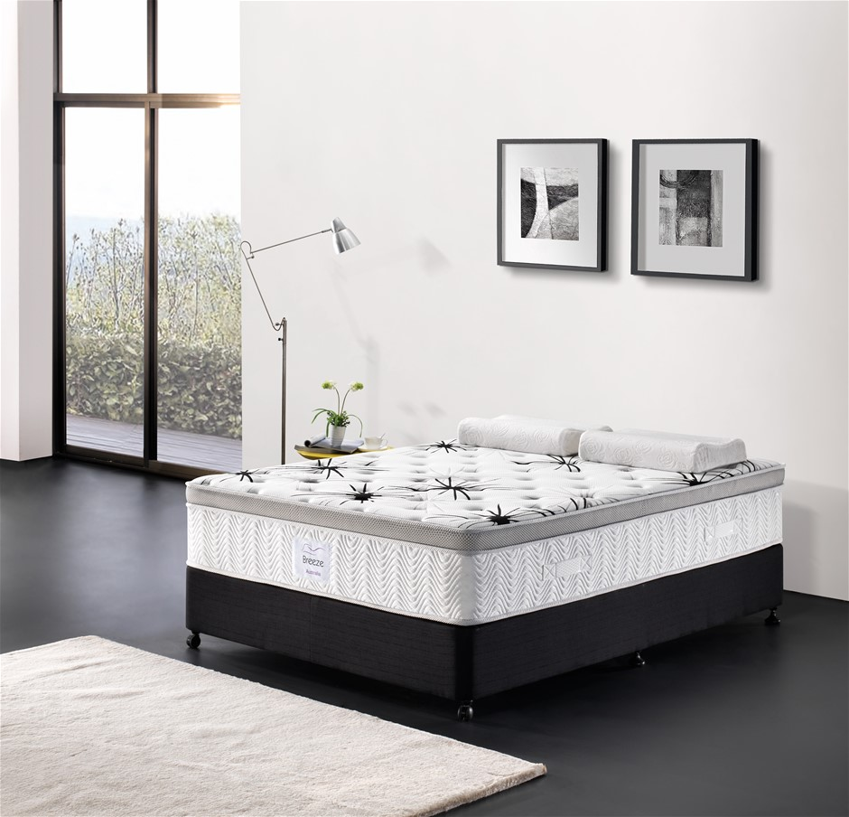 Breeze King Mattress Bed Cool Gel Infused Memory Foam Euro Top 7 Zone 34cm