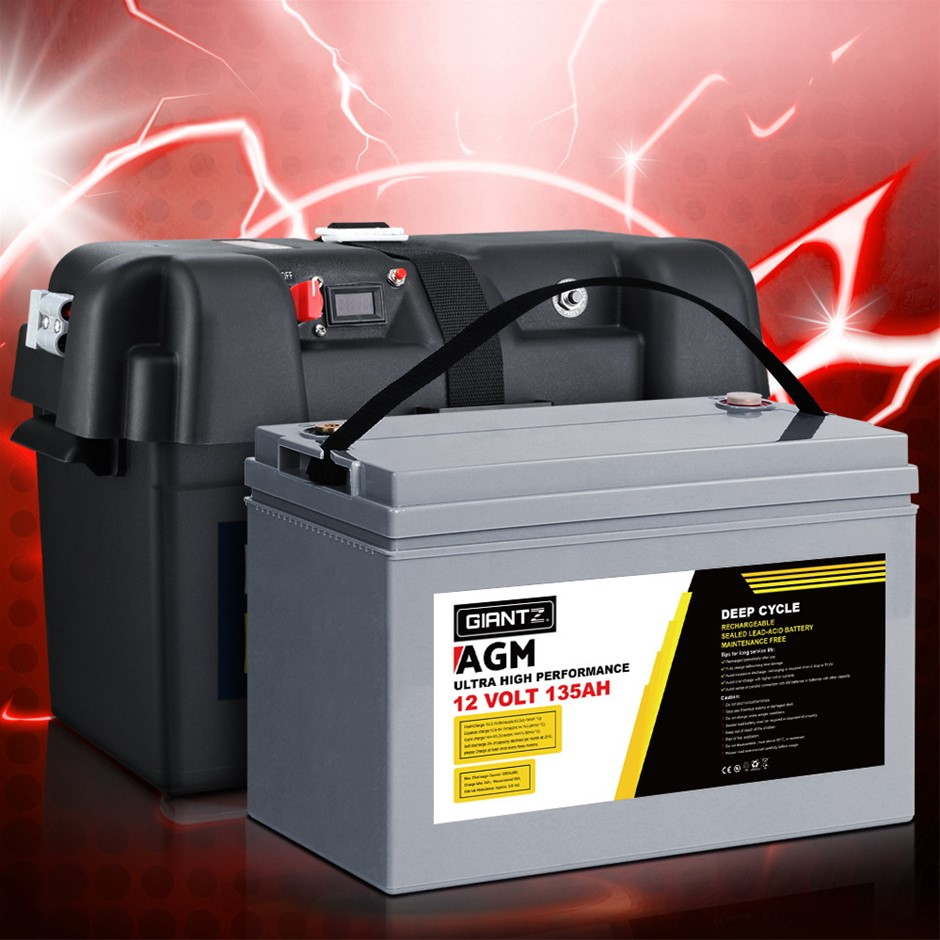 Giantz 135Ah Deep Cycle Battery & Battery Box 12V AGM Power Solar Caravan