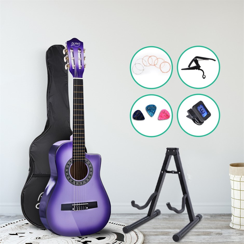 "Alpha 34"" Inch Guitar Cutaway Wooden 1/2 Size Purple w/ Capo Tuner"