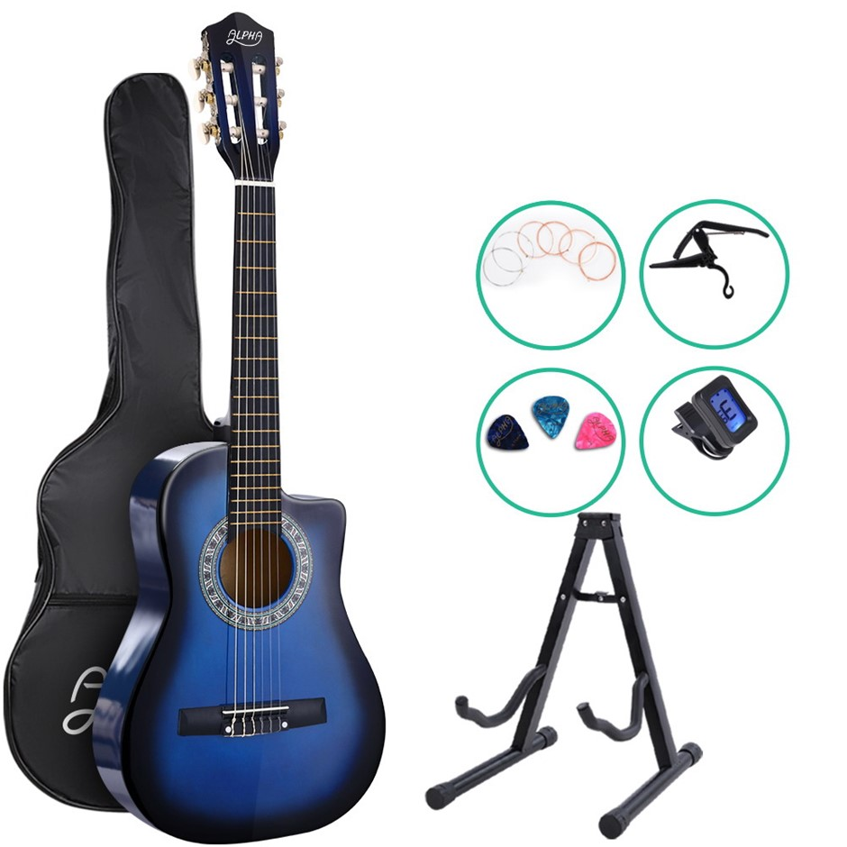"Alpha 34"" Inch Guitar Cutaway Wooden 1/2 Size Blue w/ Capo Tuner"