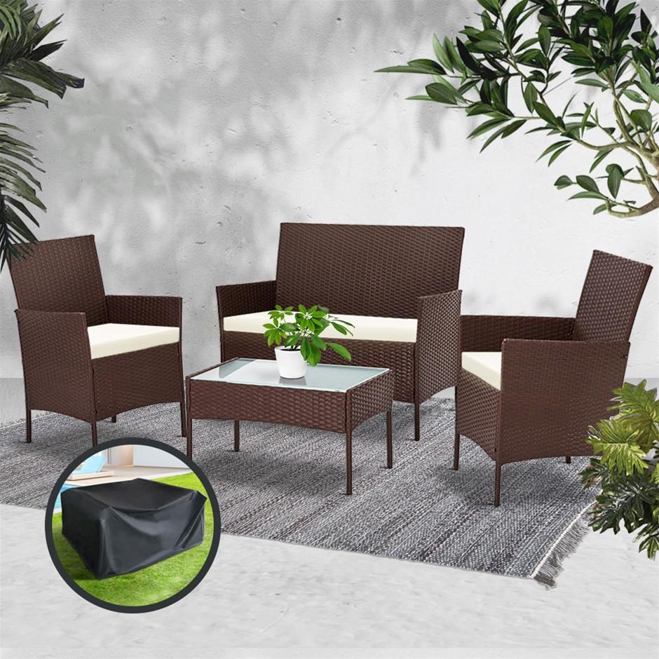Gardeon Garden Furniture Outdoor Lounge Setting Rattan Set Patio Storage