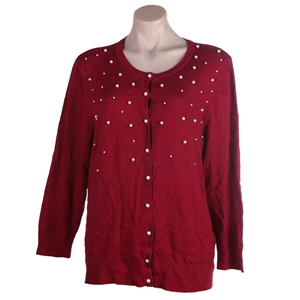 JEANNE PIERRE Button-up Pearl Cardigan,