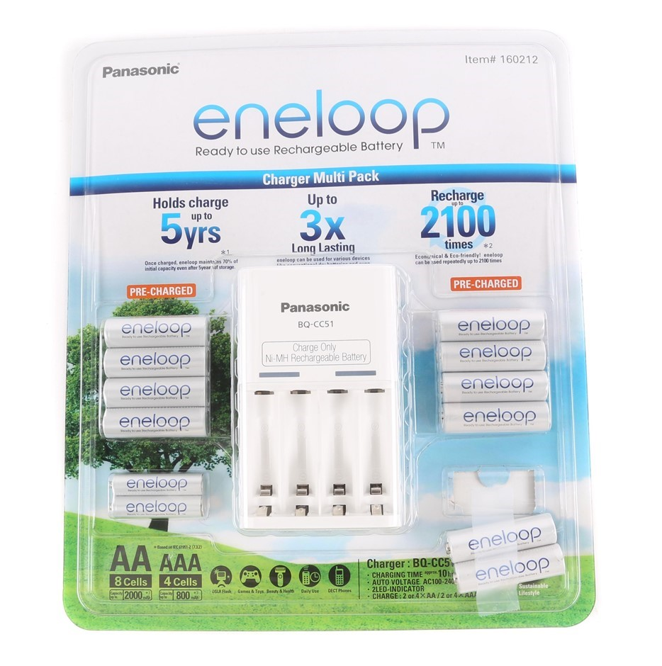 PANASONIC Eneloop Rechargeable Battery Pack, Comprising; 10 x AA & 2 x AAA