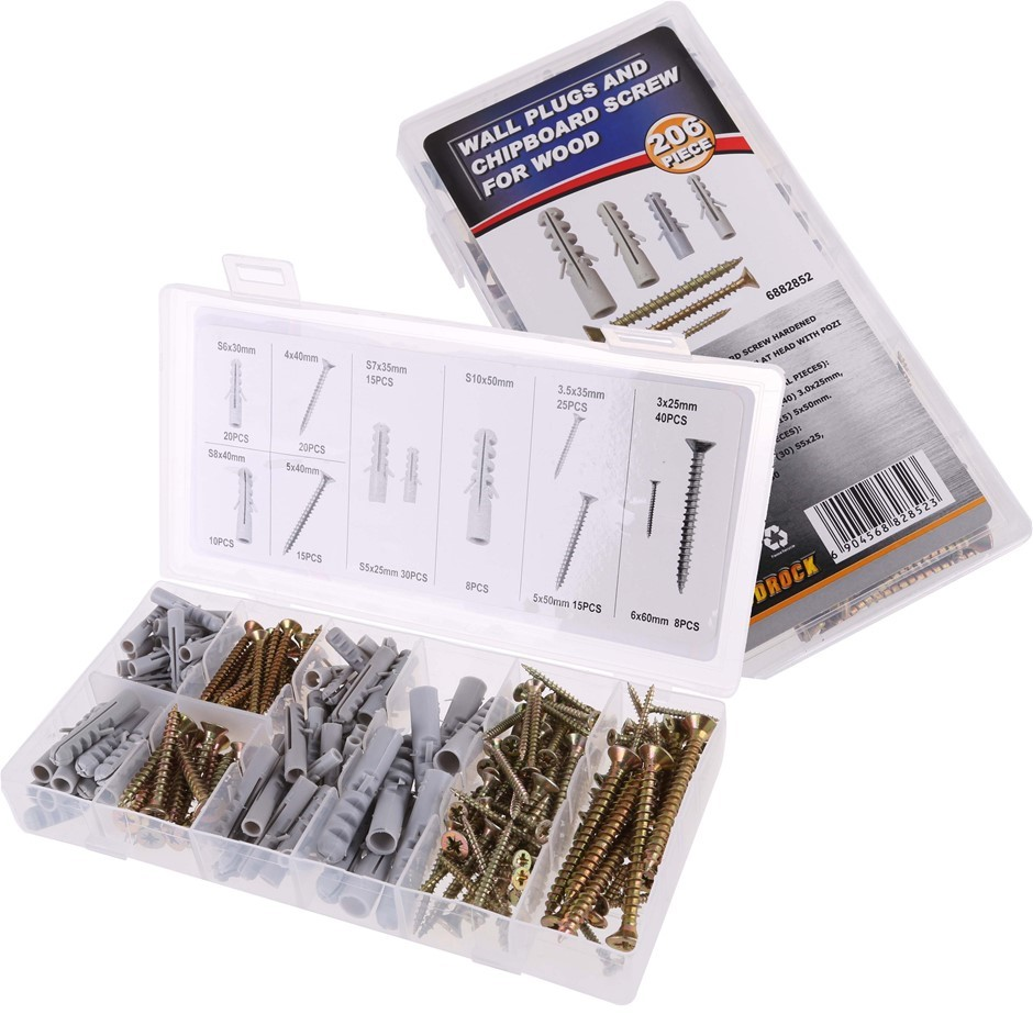 2 x 206pc Wall Plug & Wood Screw Assortment. Contents: See Image. Buyers No