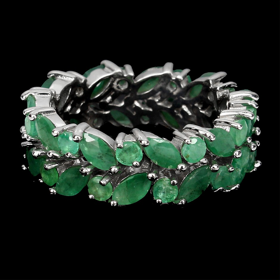 Deluxe Genuine Emerald eternity Band Ring.