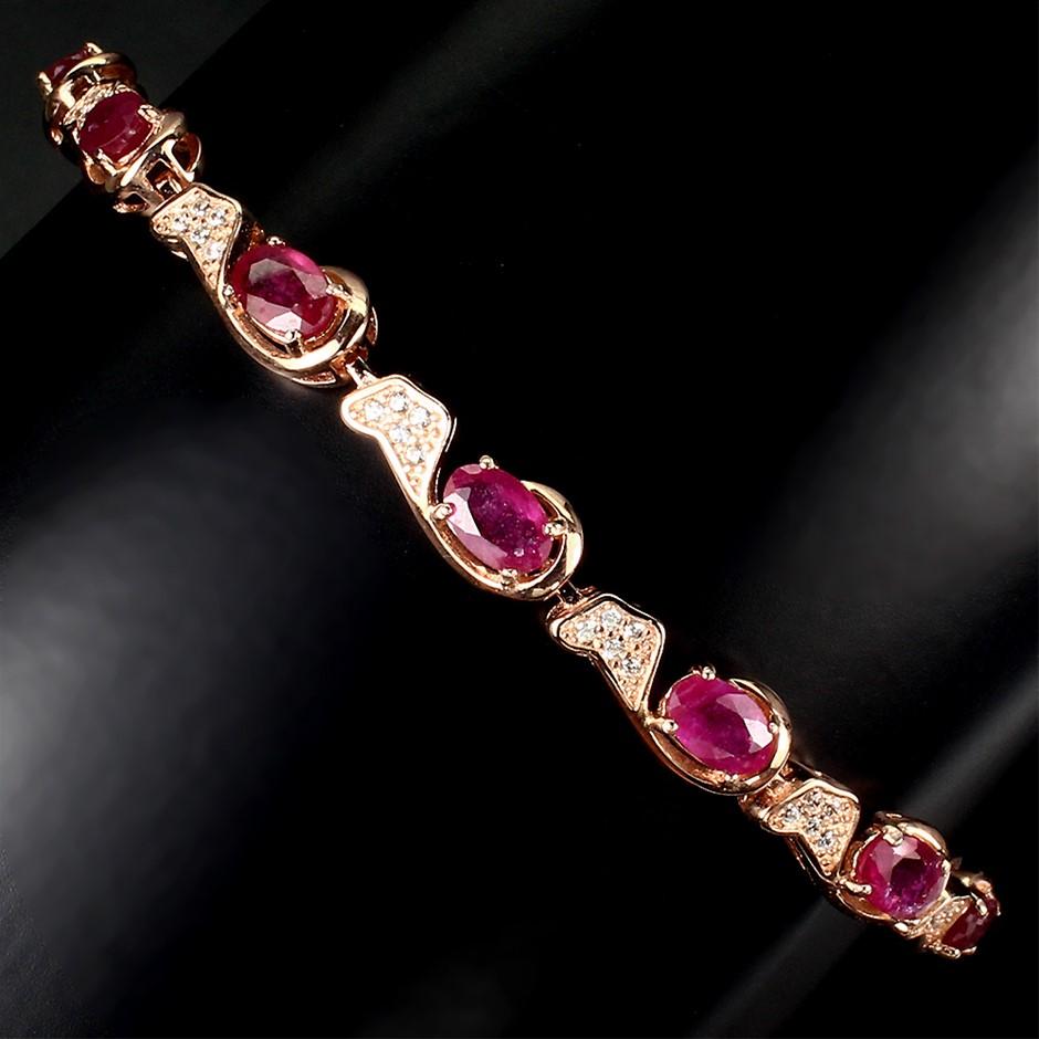 Gorgeous Genuine Ruby Tennis Bracelet.
