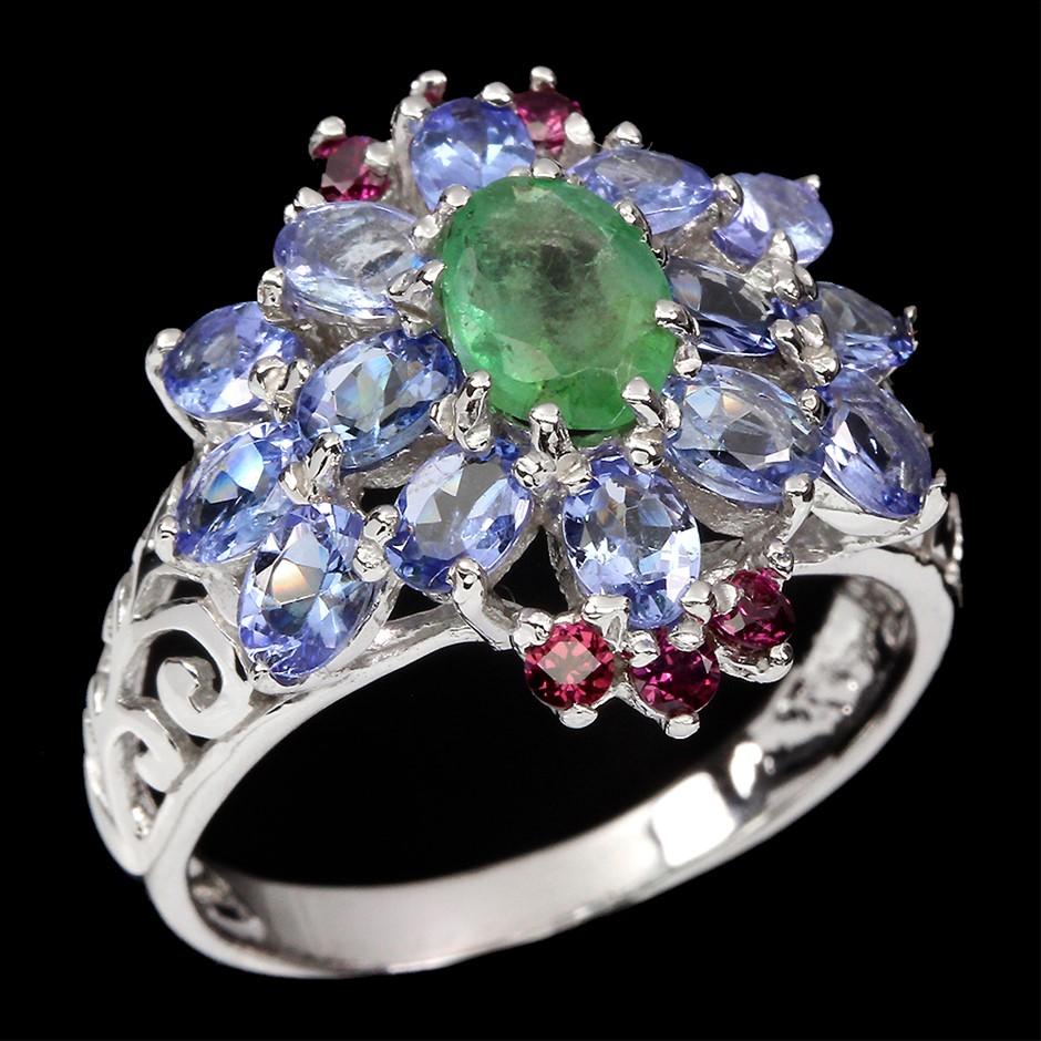 Unique Genuine Emerald Tanzanite & Garnet Statement Ring