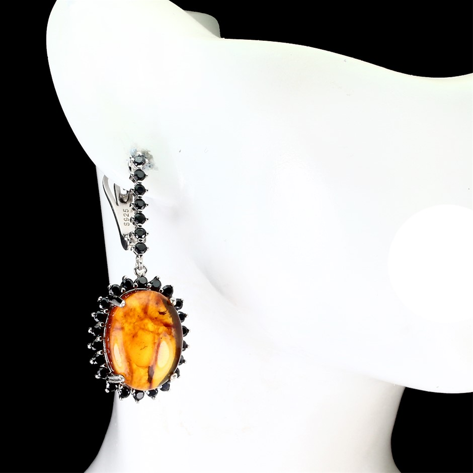 Genuine Polish Amber & Spinel Drop Earrings