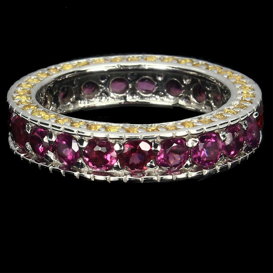 Beautiful Genuine Garnet & Sapphire Eternity Band Ring.