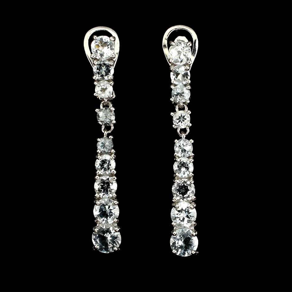 Unique Genuine Aquamarine Drop Earrings