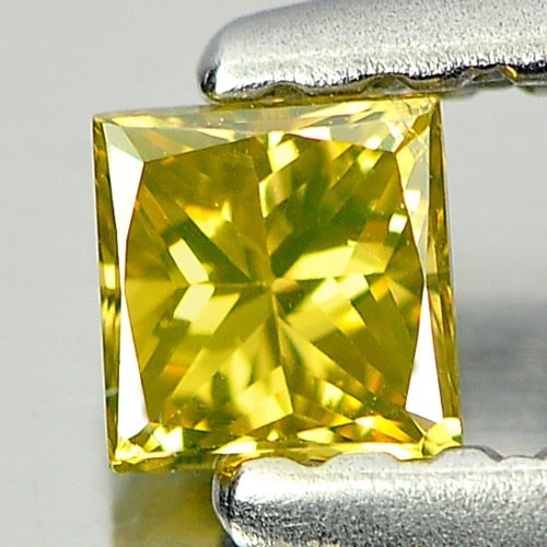 0.18ct. Genuine Princess facet Yellow Diamond