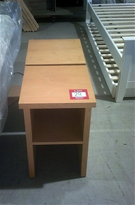 2 units of beech coloured bedside tables