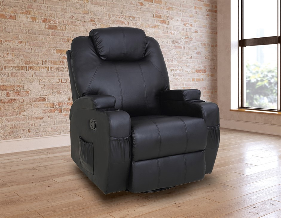Black Massage Chair Recliner 360 Degree Swivel PULeather Lounge