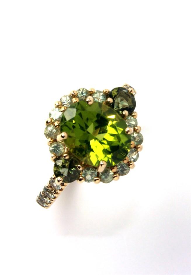 Beautiful 14kt Yellow Gold Peridot & Green Sapphire Ring