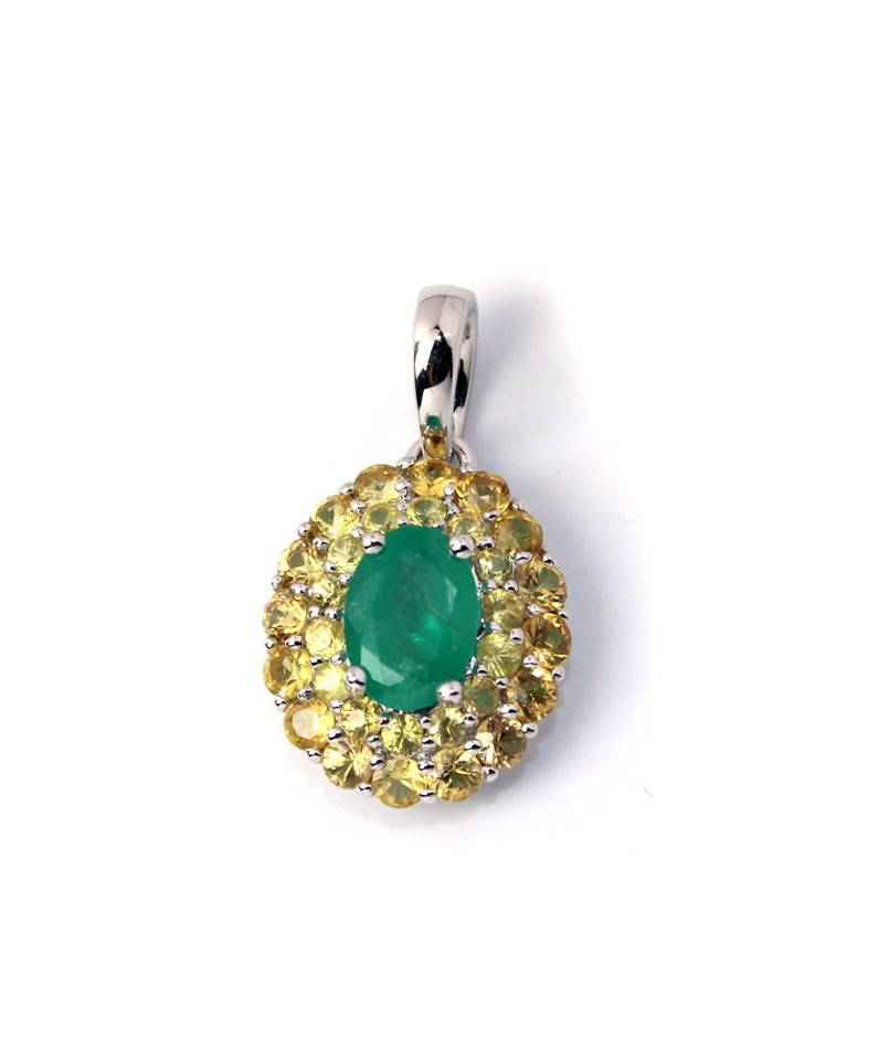 Gorgeous 18kt White Gold Emerald & Yellow Sapphire Pendant